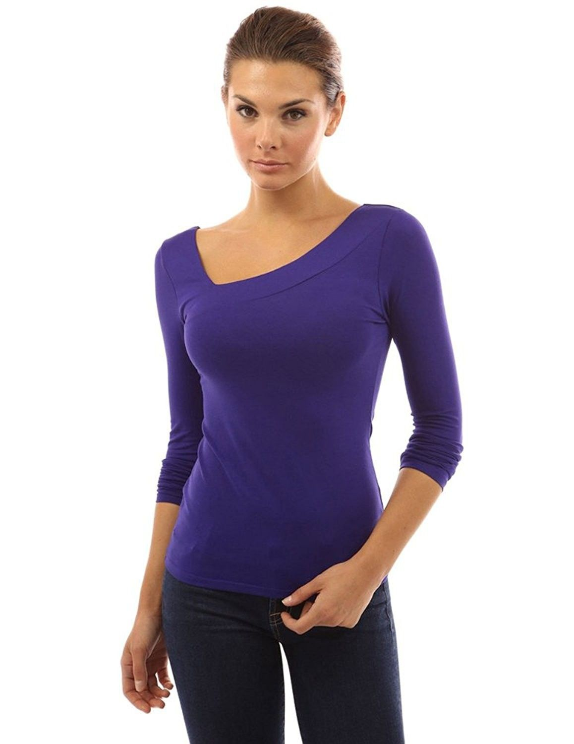 c06ff00a003a72 Women's Sexy Fitted Long Sleeve Casual Tops V Neck Tee Shirts - Blue -  CS17YIK5O74,Women's Clothing, Tops & Tees, Knits & Tees #women #fashion  #clothing ...