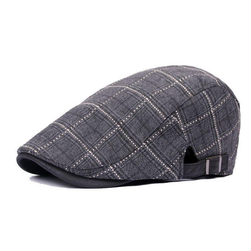 Uhat/® Unisex Peaked Cap Fashion Plaid Beret Hats Boys Flat Caps for Spring Autumn Winter Grey