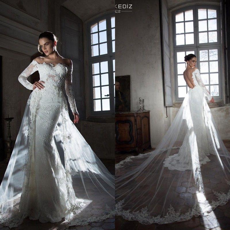 long sleeve lace wedding dress detachable train Wedding