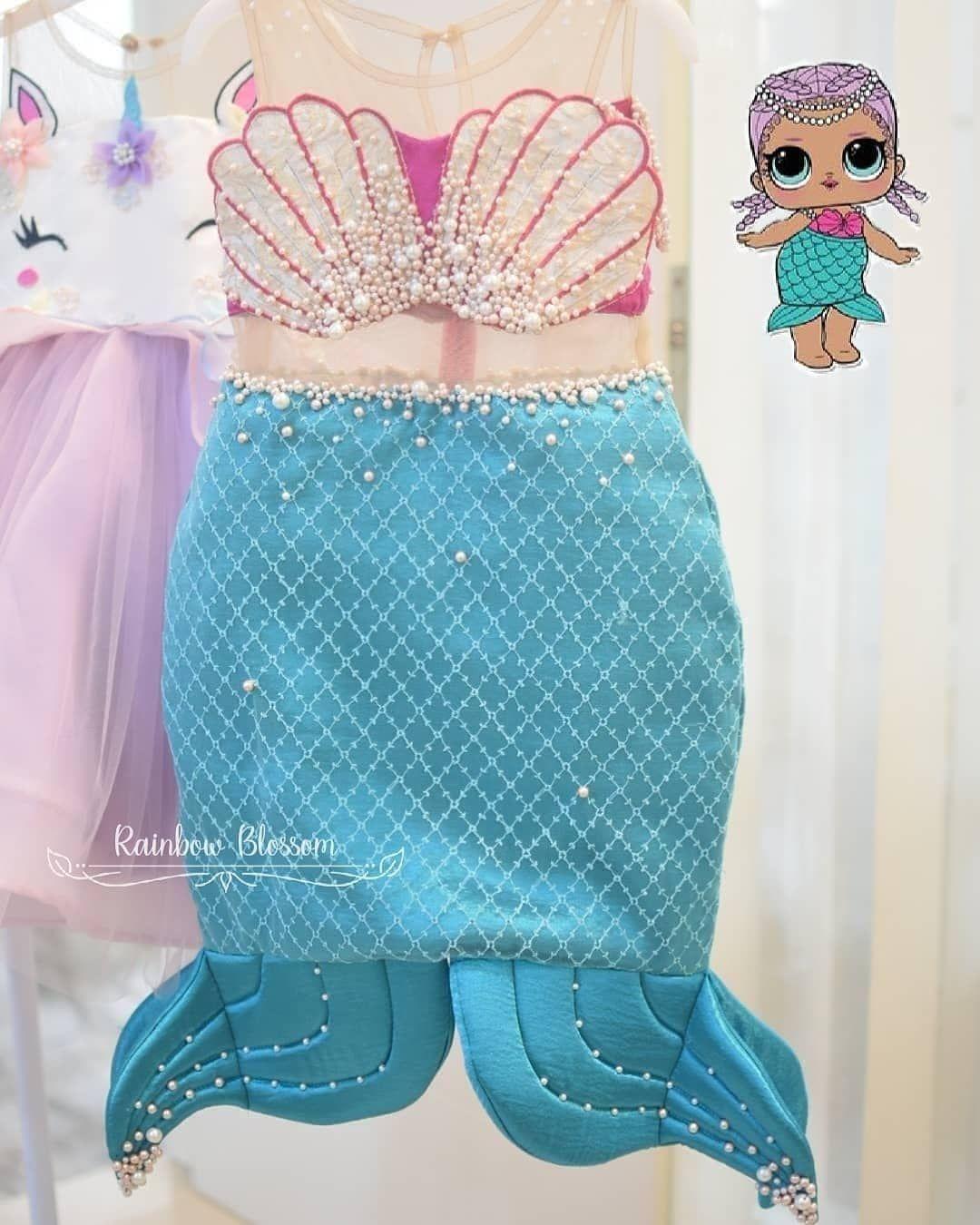 Mermaid Handmade Tutu Birthday Costume Ocean Themed Party Halloween Girl 1-8year