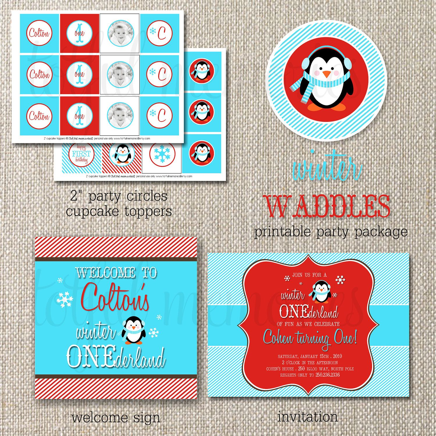 DIY Deluxe Printable Party Package. Winter Waddles Birthday COLLECTION. Customizable. totful memories. $35.00, via Etsy.