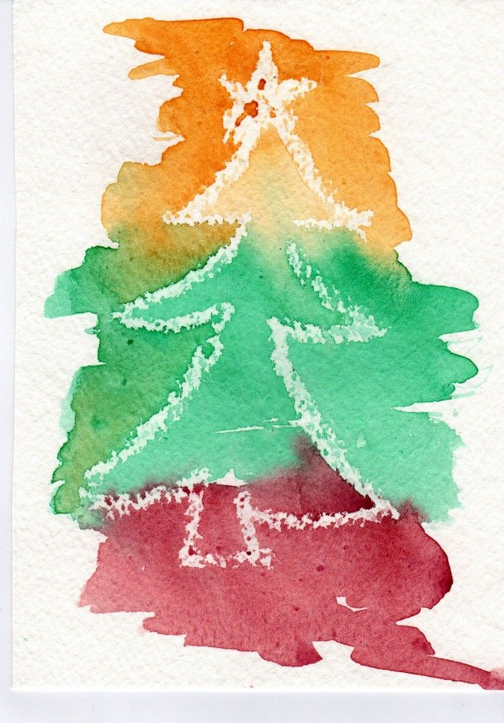 Watercolour And Clear Wax Crayon Art Cards Christmas Card Crafts