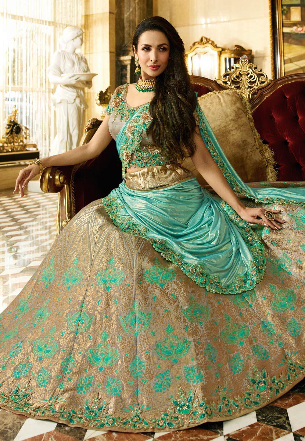 Buy Malaika Arora Khan blue and beige Indian Banarasi silk