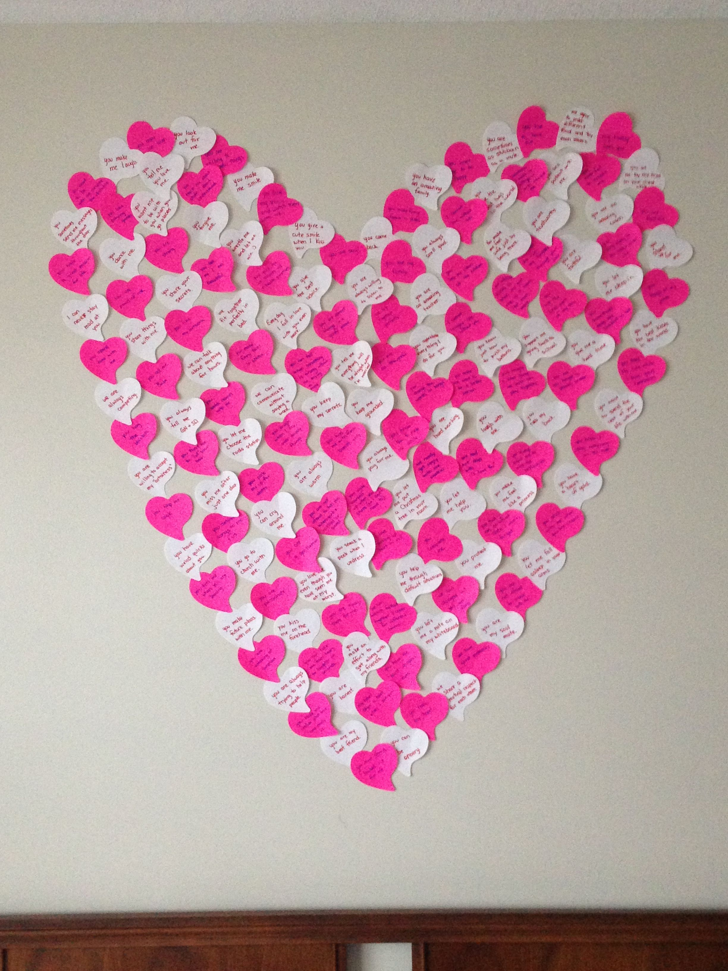 150 reasons I love my boyfriend. Used heart shaped stickies. I ...