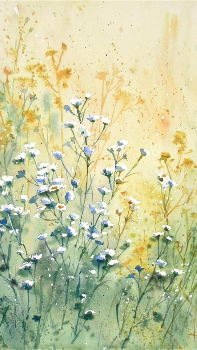 Flowers Painting Iphone 5 Wallpapers Downloads Watercolor Wallpaper Iphone Watercolor Wallpaper Daisy Painting