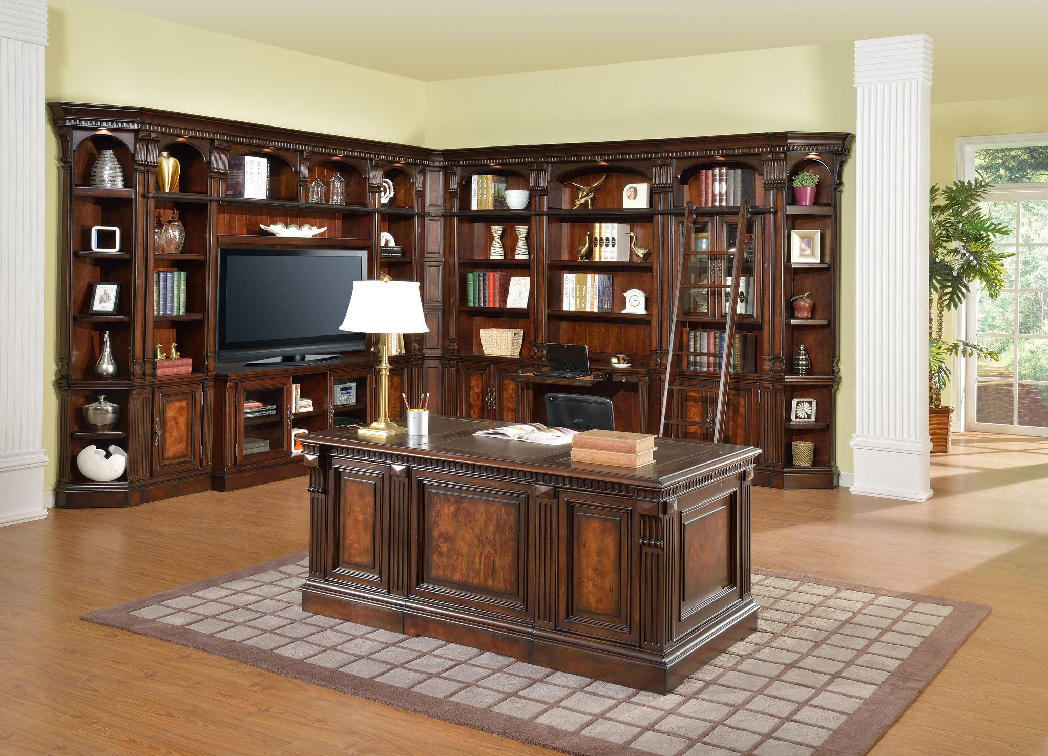 """The Corsica Library Full Wall for 60"""" TV with Executive Desk 12769"""