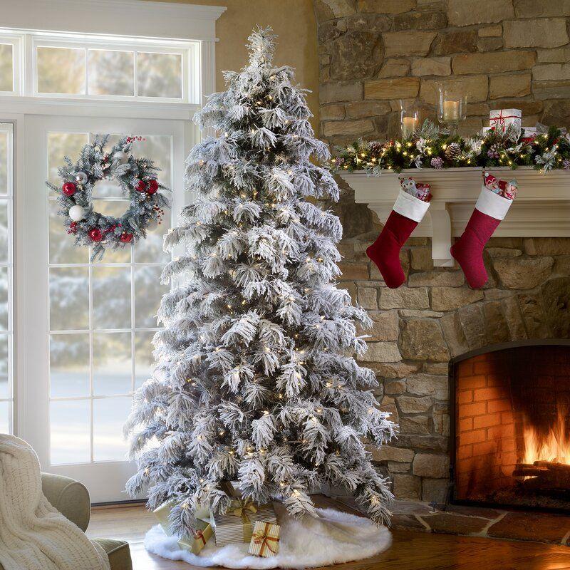 Snowy Pre Lit Berkshire 7 5 Flocked Spruce Artificial Christmas Tree 500 White Lights Hobby Lobby Christmas Trees Christmas Decorations Flocked Christmas Trees