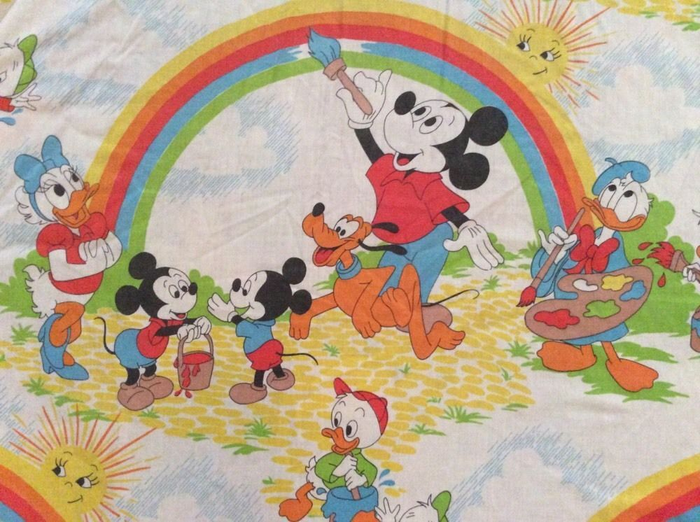 Disney Prod Mickey Rainbow Painting Vtg Twin Fitted Sheet Cutter