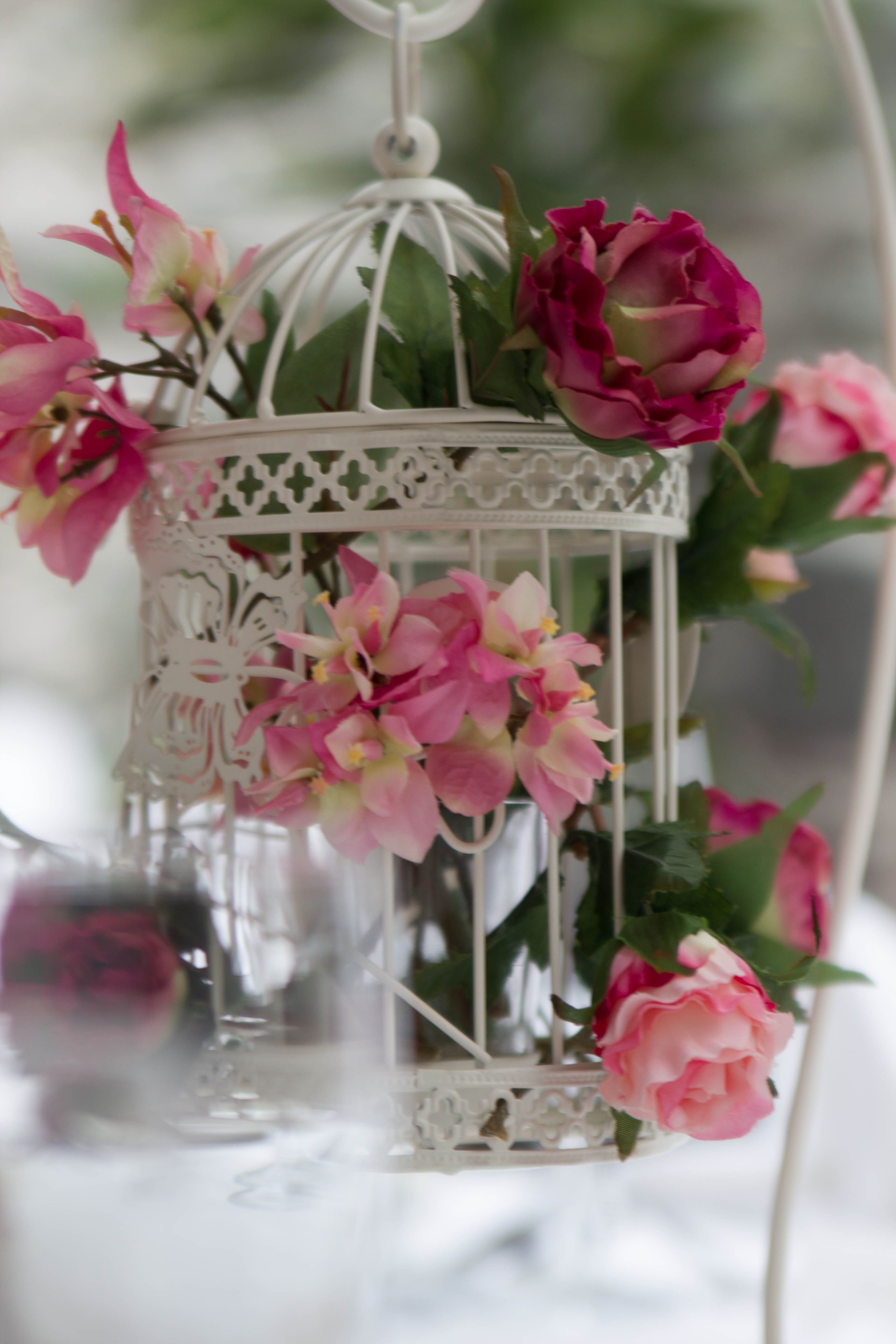 Beautiful Bird Cage Table Centrepiece For The Reception Filled With Artificial Flowers Flower Centerpieces