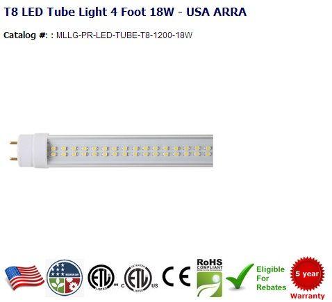 4 Ft 18w 1674 Lumens Replaces 28 40w T8 Or T10 Or T12 Color Temperature 3200k 4500k 5500k 7500k Lumens 1674 Re Led Tube Light Led Tubes T8 Led Tube