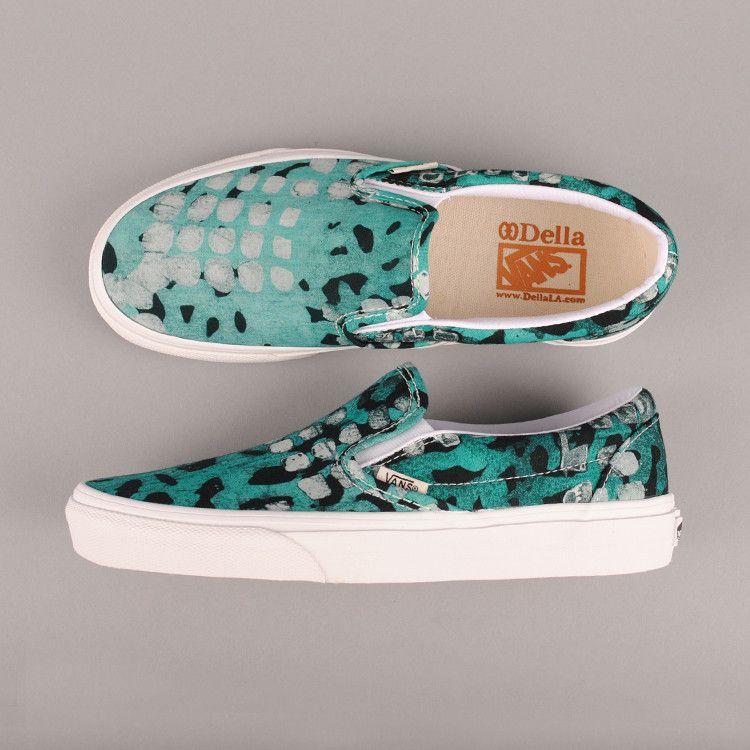 Vans Della Classic SlipOn Batik Leopard Shoes In Black White And