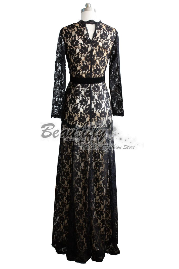 Black Ball Gowns with Sleeves | ... Elegant Formal Long Sleeves Black Lace Evening Gown Prom Ball Dress