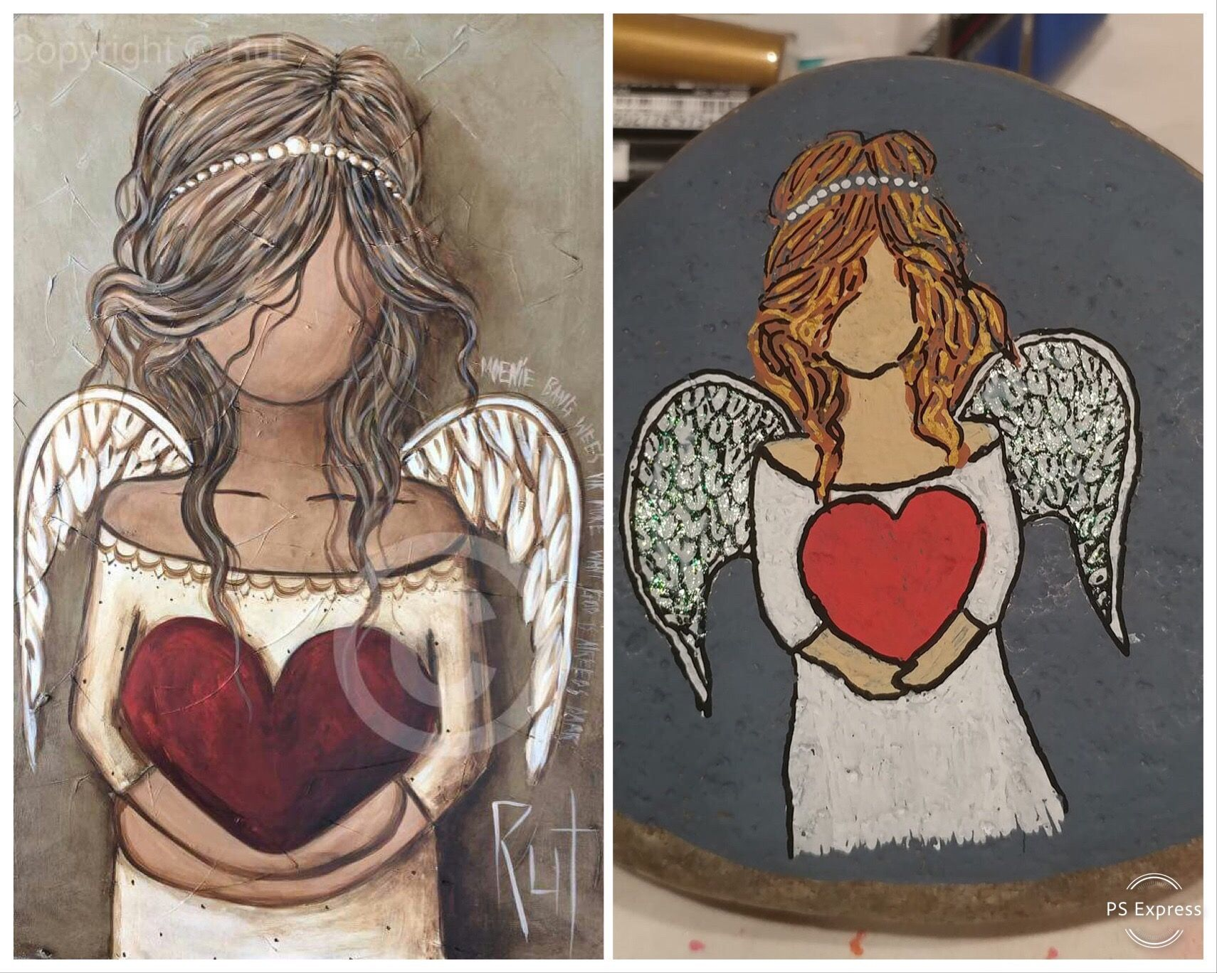 Angel Holding Heart Painted Rock Copy Angel Painting Rock Painting Designs Painted Rocks