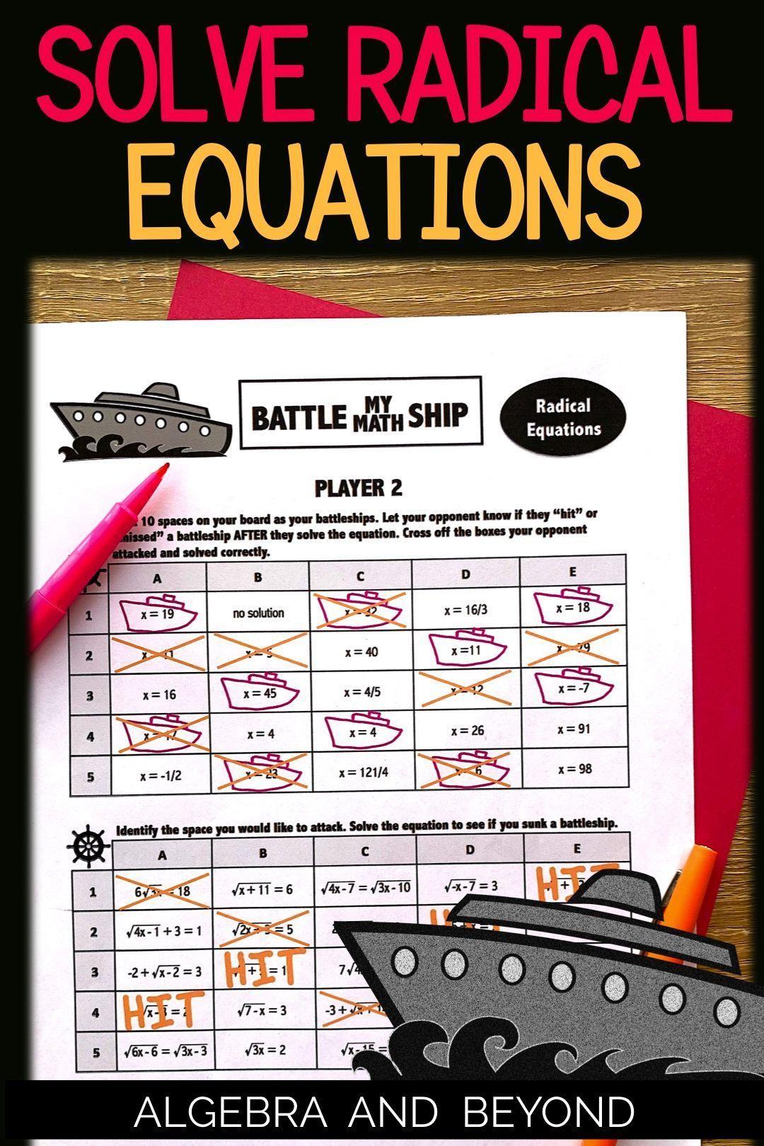 Solving Radical Equations Activity Radical Equations High School Math High School Math Teacher [ 1620 x 1080 Pixel ]