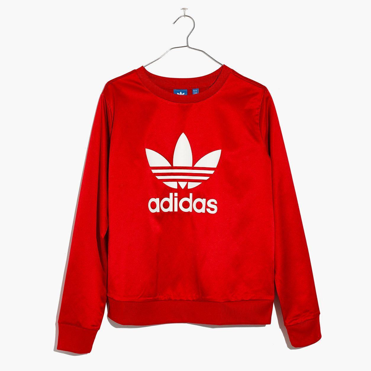 87971a193e6e Madewell Womens Adidas Originals Trefoil Crewneck Sweatshirt In Red ...