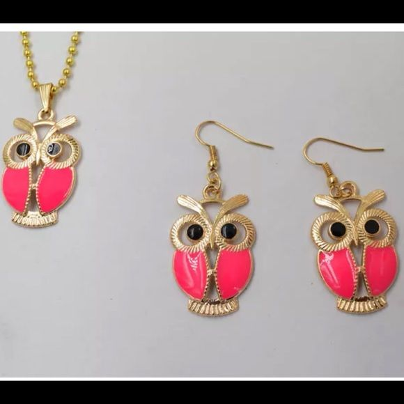 Bright Pink Owl Lover  Necklace and Earring Set Bright Pink Owl Necklace and Bright Pink Dangle Owl earrings. Lowest Prices are listed upfront. (2) Jewelry Necklaces