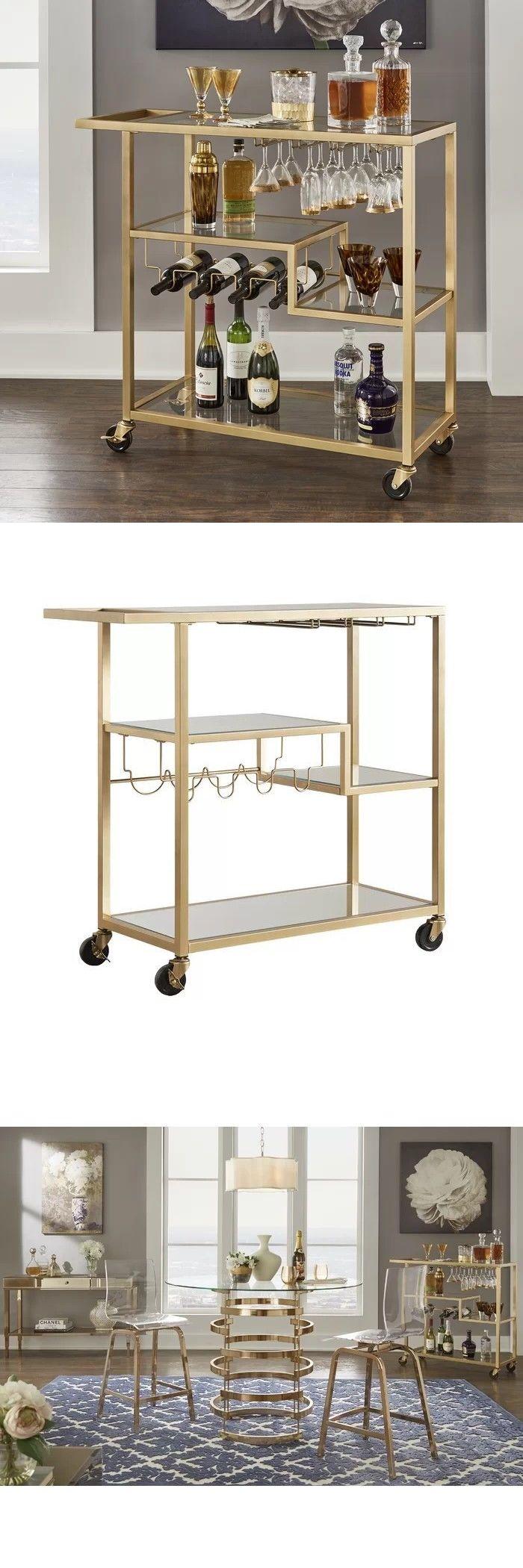 Tibo Glass tibo bar cart- gold metal/glass cart in 2018   bar carts and serving