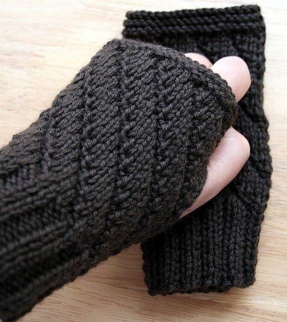 7cd1de44e1643 Knitting Pattern - Fingerless Gloves - Mitts Gauntlets - Knitting Pattern  for Men or Women - DIY Tutorial