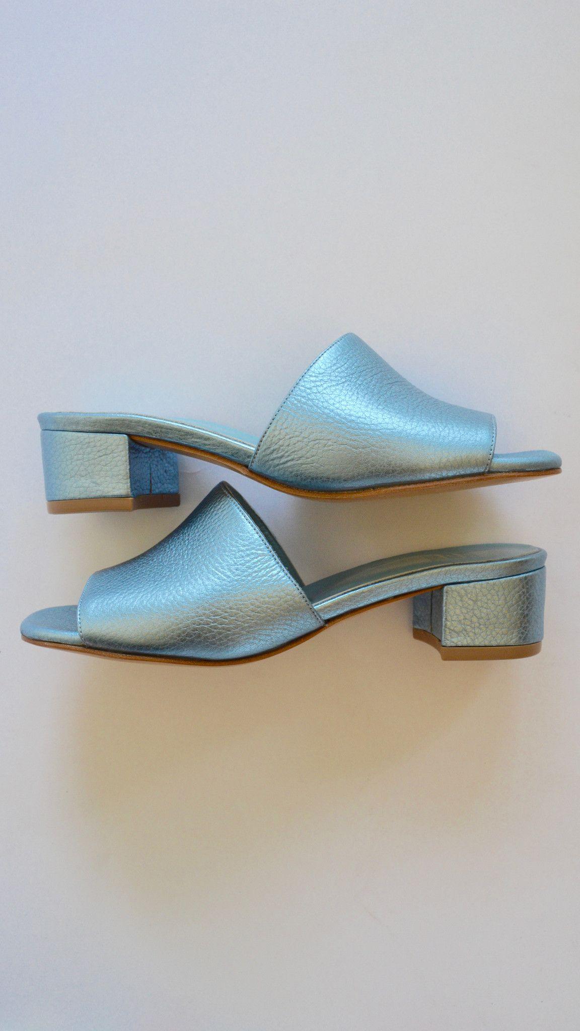989fb56dcb5 Maryam Nassir Zadeh Sophie Slide in Ocean Metallic Texture on ...