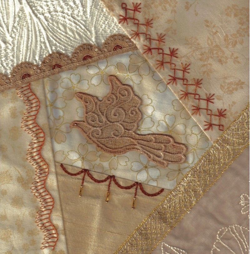 I ❤ crazy quilting & embroidery . . .  Champagne block #32 ~By Marci H