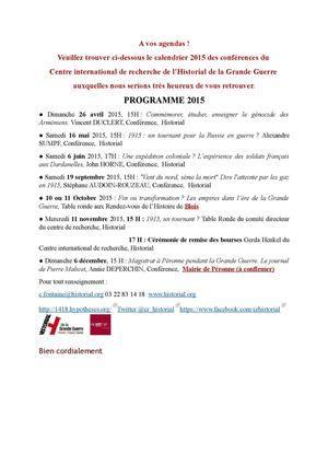 Programme 2015 de l'Historial de Péronne