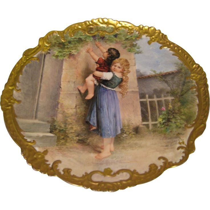 Stunning 17 Antique Hand Painted Limoges Wall Plaque Charger ~ Museum Quality Masterpiece Still Life Portrait Painting on Porcelain w Elegant Rococo Border ...  sc 1 st  Pinterest & Pin by Valeriya Komova on Стекло и фарфор.   Pinterest   Porcelain