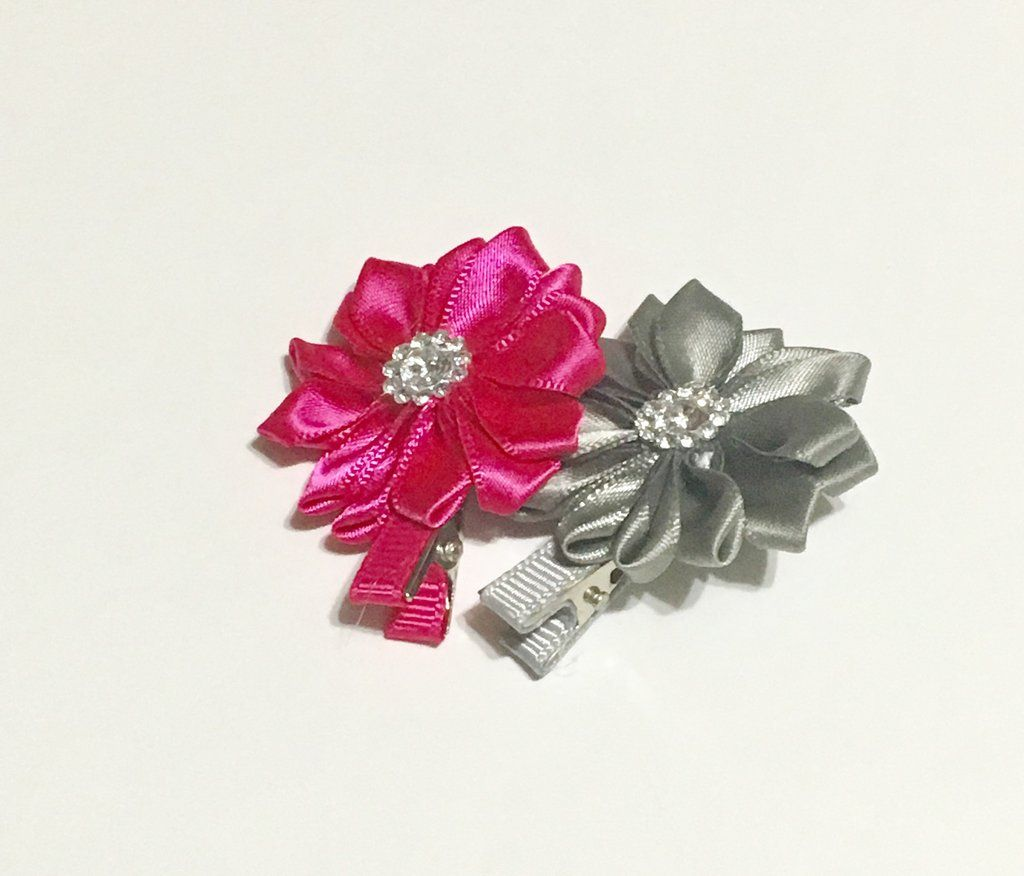 Hot Pink and Grey clips