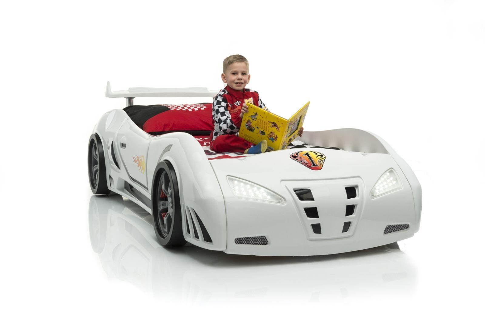 Kinderbett auto bmw  Kinderbett als Rennwagen - Autobett WhiteCar weiss mit Spoiler ...