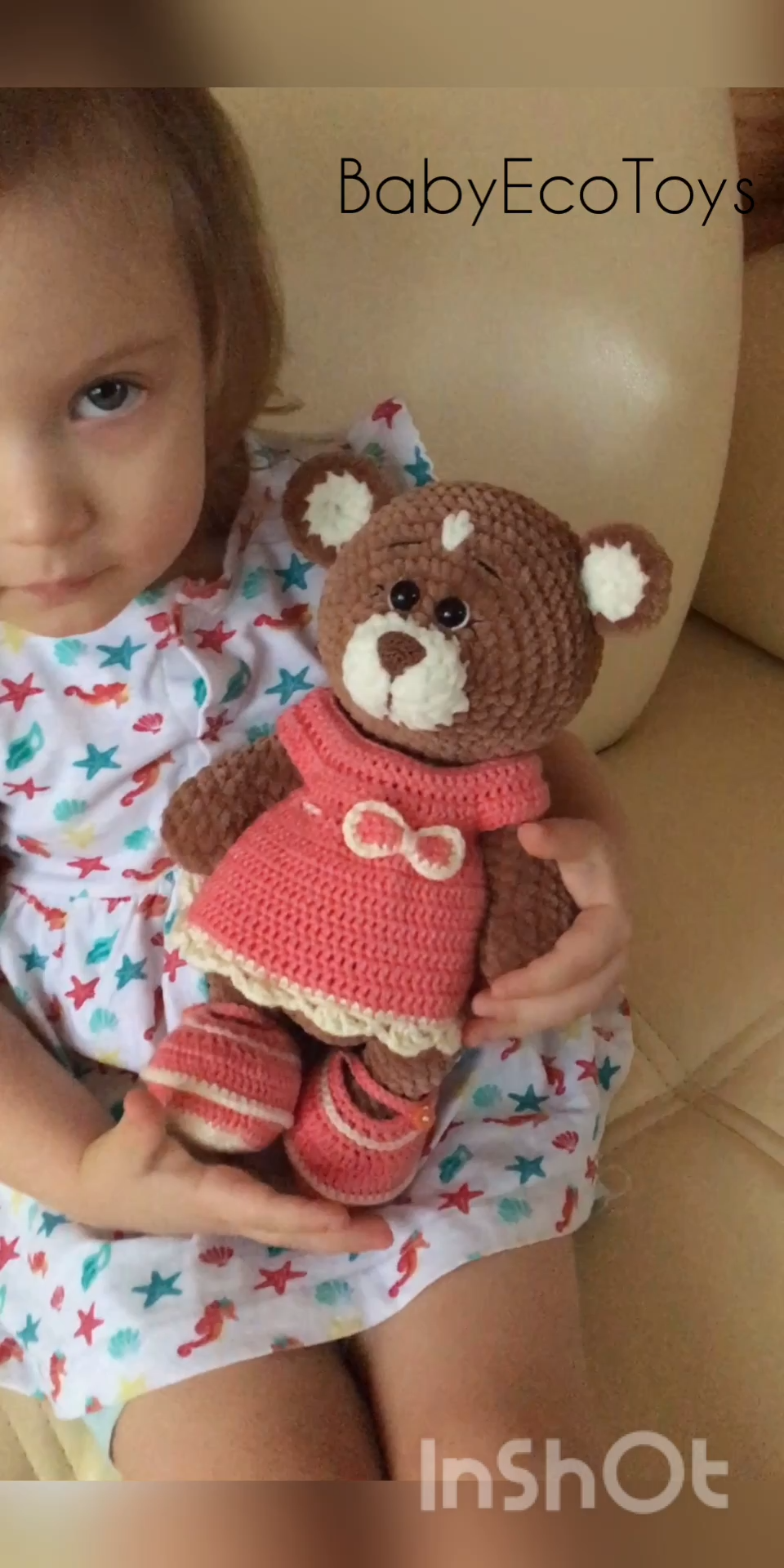 Photo of Soft stuffed bear doll / Hand-crocheted plush Teddy bears toy with outfit / Plushies