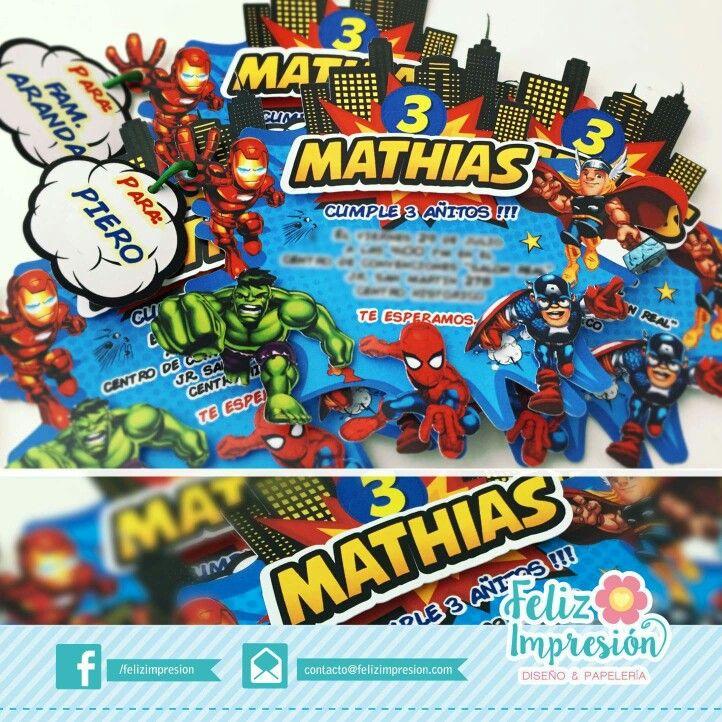 Tarjeta Invitación Avengers Tarjetas De Invitación Fiesta