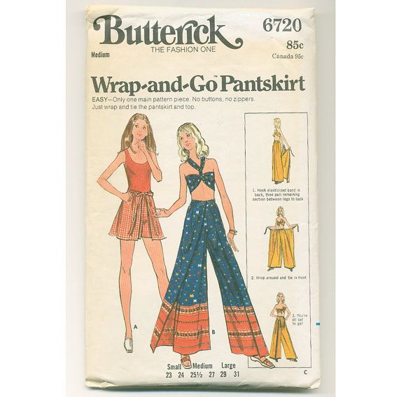 1970s Wrap Around Shorts and Pants Pattern, Bell Bottom, Loose Fit ...