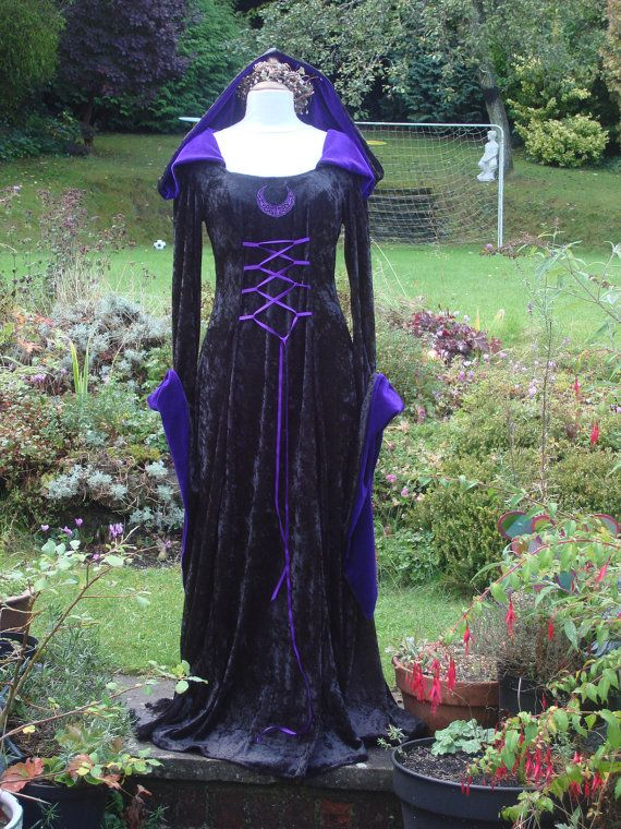 Embroidered Celtic Witch Meval Renaissance Hooded Pagan Goth Handfasting Gown Dress 8 To 14 Via Etsy