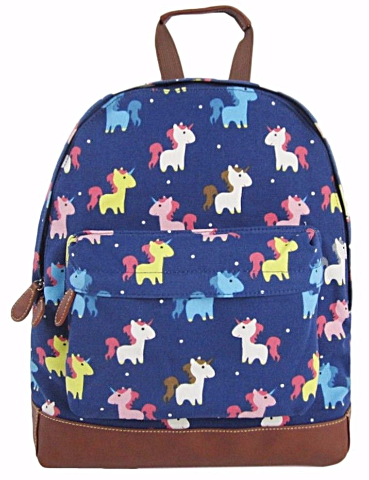 513120e3258f A blue backpack rucksack with a Unicorn print thick canvas fabric and brown  faux leather trim The bag fastens with a zip external zip fastening
