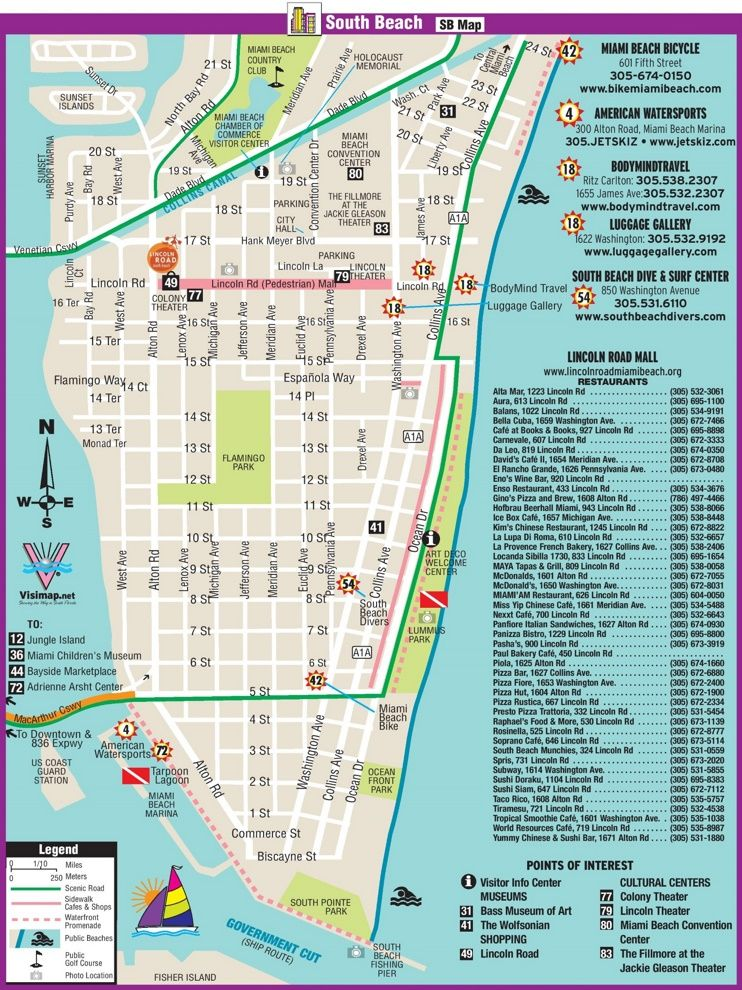 South Beach Restaurant And Sightseeing Map Miami 2018 Miami