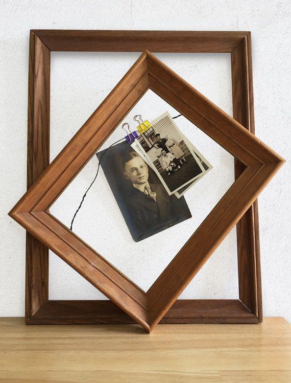 Vintage Rustic Wall Frames / Two Farmhouse Primitive Wood Oak Frames ...