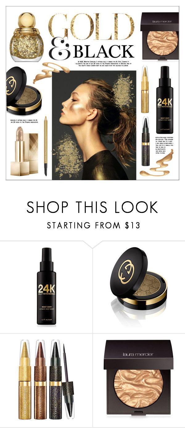 """Gold & Black"" by lgb321 ❤ liked on Polyvore featuring beauty, Sally Hershberger, Gucci, Laura Mercier, Estée Lauder, Beauty, metallic, goldandblack and beautyset"