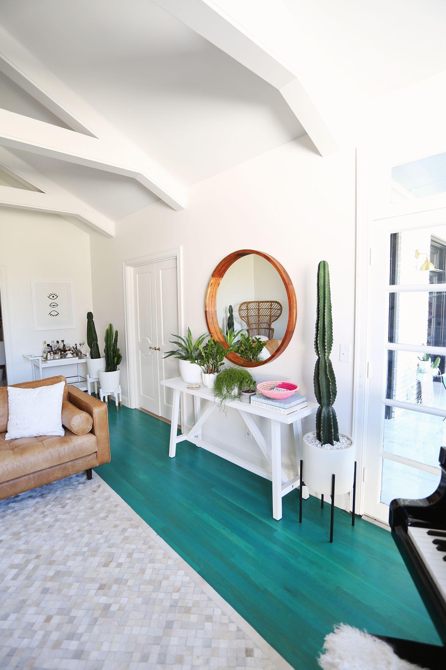 Color Washed Floors Elsie Larson S Living Room Tour Turquoise Living Room Decor Decor Home Decor Turquoise floor bedroom designs
