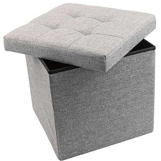 Amazon.com: Storage Ottoman Linen Folding Stool,Storage Cube Basket Bins  Organizer Containers