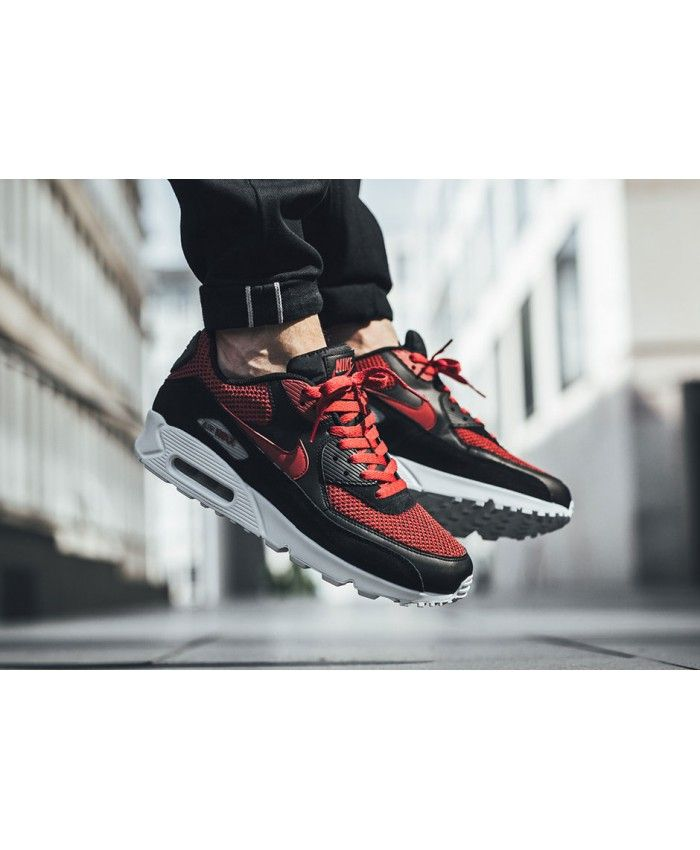 69e6875c1a9 Nike Air Max 90 Essential Black Tough Red Trainers is the favorite one in  the latest trainers