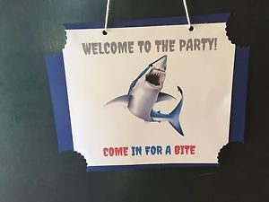 Welcome to The Party Shark Attach Sign Birthday Decoration eBay