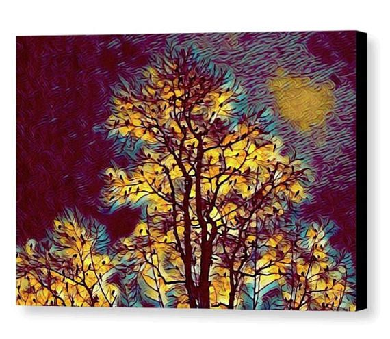 Flocking To The Tallest Trees Pop Art Sunset Silhouette Canvas Print Maroon Blue