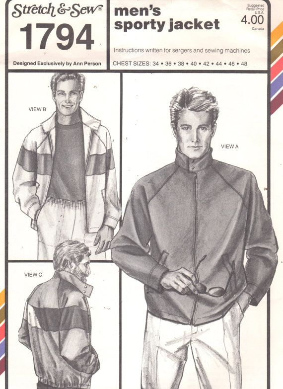 Stretch Sew 1794 Mens Sporty Jacket Pattern Raglan Sleeve Color