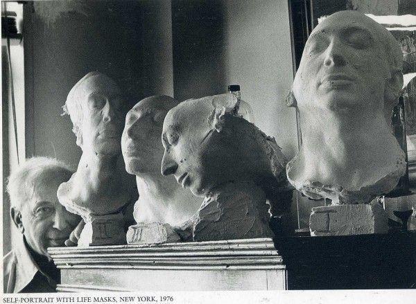 Self-Portrait with life masks; André Kertész, 1976