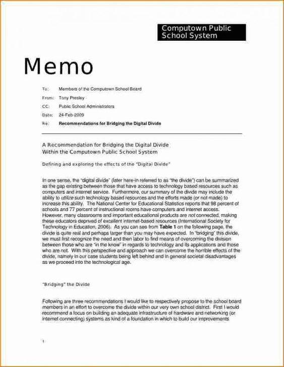 Memo Letter Sample from i.pinimg.com