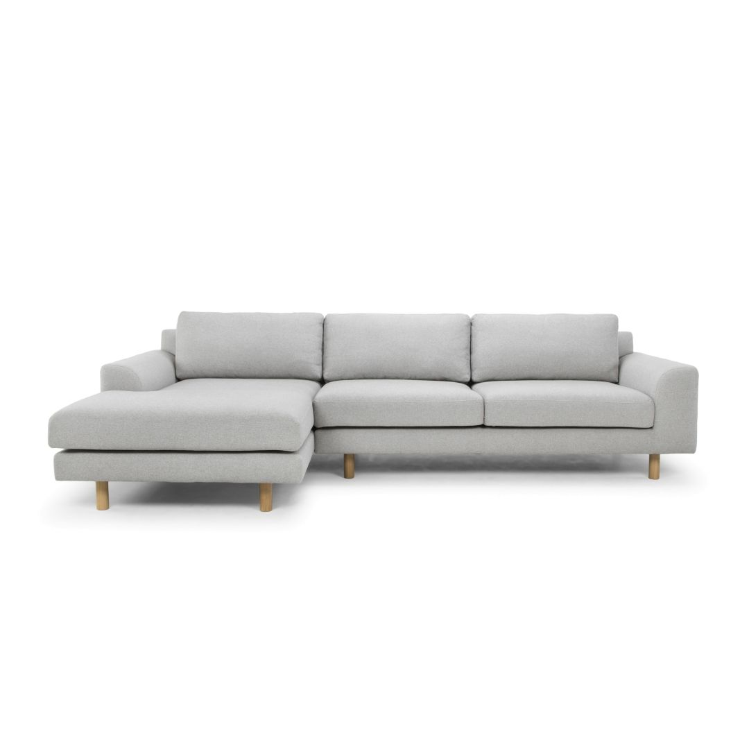 Sonia 3 Seater Left Chaise Fabric Sofa Stone Grey Sofa Chaise Sofa Couch With Chaise