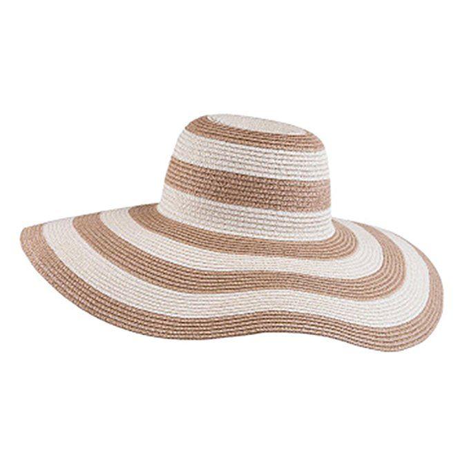 Itopfox Women's Beachwear Sun Hat Striped Straw Hat Floppy Big Brim Hat BK at Amazon Women's Clothing store: