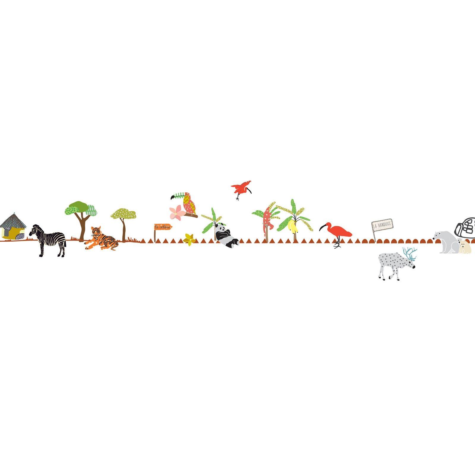 Cette frise murale Balade au zoo par Mimi'lou apportera une note de couleur à la décoration de chambre de votre enfant.