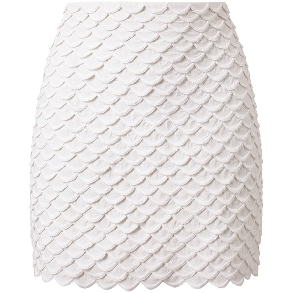 STELLA MCCARTNEY scalloped mini-skirt (€675) ❤ liked on Polyvore featuring skirts, mini skirts, bottoms, saias, short skirts, scallop hem mini skirt, stella mccartney skirt, scalloped mini skirt and white skirt