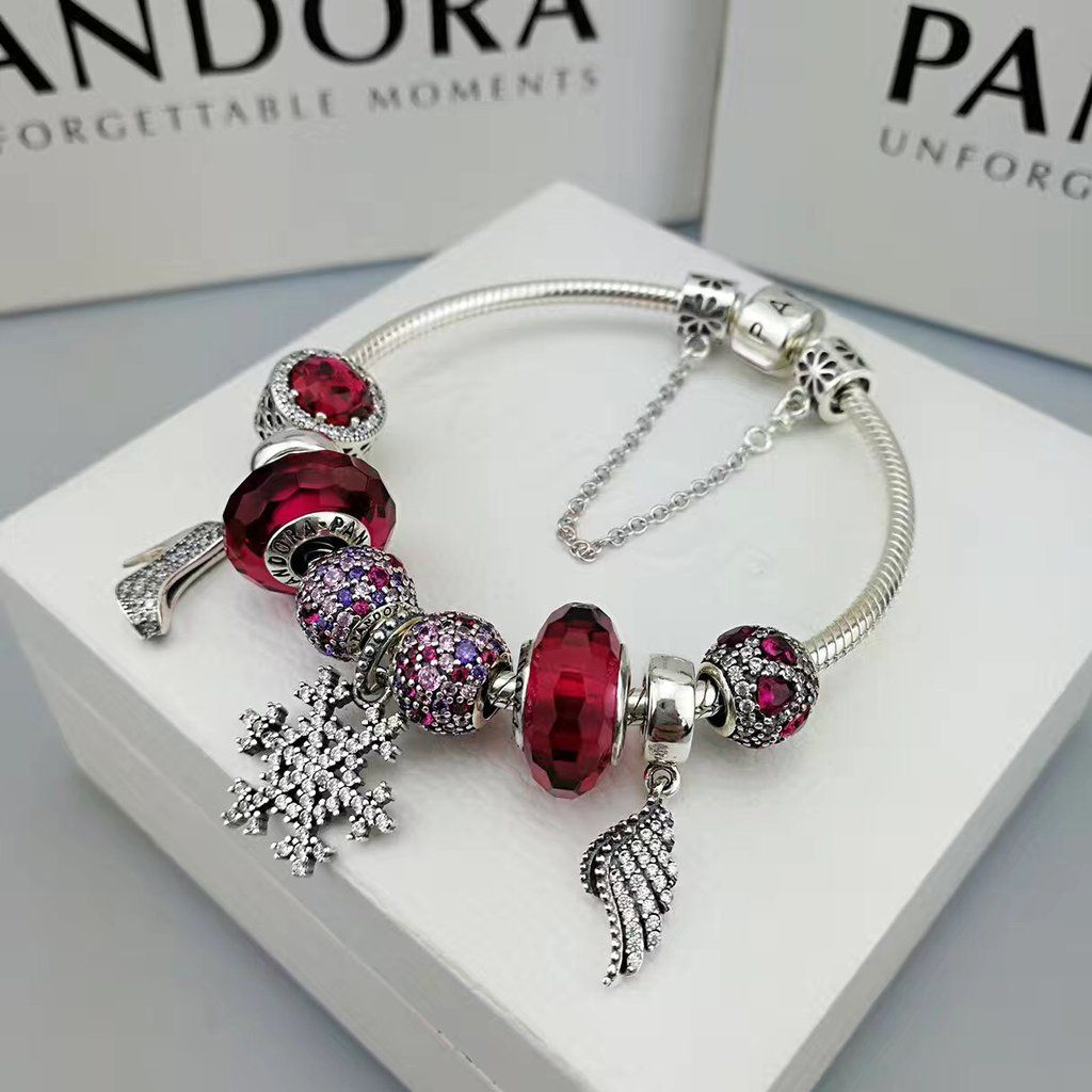 Pandora Red Love Angle Theme Charm Bracelet With 9 Pcs Charms Pandora Red Charm Bracelet Pandora Jewelry