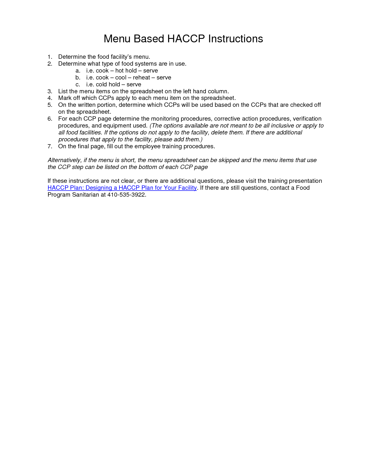 Haccp Plan Template  Haccp Plan For   Preschool Kitchen